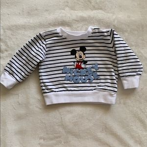 Mickey Mouse striped sweater.